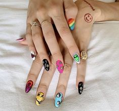 Edgy Nails, Aycrlic Nails, Grunge Nails, Funky Nails, Stylish Nails, Trendy Nails, Swag Nails, Hair And Nails, Funky Nail Art