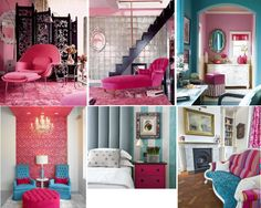 Pink accents and furniture- Rooms designed by Betsey Johnson, via House of Turquoise
