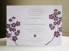 Violets Letterpress Wedding Invitation Suite (100). $965.00, via Etsy.   - i love the simplicity of this