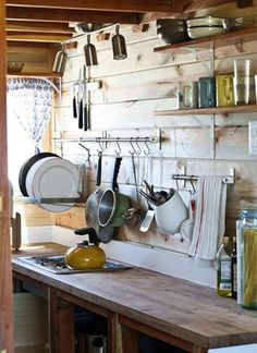 """♥ Authentic minimalist kitchen. Many so called """"minimalist kitchens"""" tend to be staged in HUGE rooms -  little environmental good that does - construction materials and energy bills for heating or cooling huge kitchens certainly aren't minimal!"""
