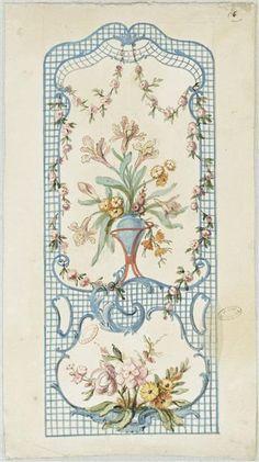 Charles Germain de Saint-Aubin (1721-1786), Recueil de dessins, Dessin 6 : modèle de tenture