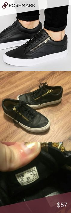 Vans Old Skool Zip Black Leather Sneakers These are in good used condition. They have a clean exterior and functioning gold zipper and come with black laces. Leather looks creased on front but will come out with wear. Size 5 in men's and 6.5 in womens! Vans Shoes Sneakers