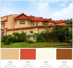 This creative House Exterior has 4 colors combination with Pale Gold, Cinnabar, Old Lace and Grizzly. Exterior Paint Color Combinations, Good Color Combinations, Exterior House Colors, Colour Schemes For Living Room Grey, Bedroom Color Schemes, Modern Patio, Modern Exterior, Living Room Floor Plans, Tropical Architecture