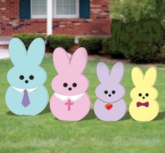 Easter Peep Bunny Family Handmade Wood Yard art Display ( Set of 4 )  Decorate your yard for Easter with the peeper family  Dad 39Tall Mom 35 Tall Daughter 32 Tall Son 29 Tall  All of my pieces are made from 1/2 inch high quality plywood and painted with acrylic craft paint  Please note, my yard displays may vary from pictures, they are hand-made no two items will be exactly the same so there may be slight variances in color  Each piece is hand drawn and hand cut then they are Sanded, Pa...