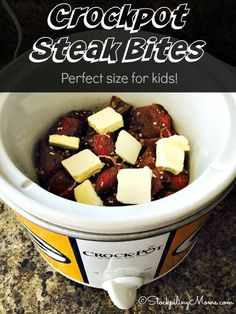 Only 3 ingredients and seasonings needed for this delicious Crockpot Steak Bites recipe that kids love for dinner!