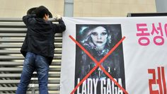 "Lady Gaga's ""Born This Way Ball"" met by protests in South Korea."