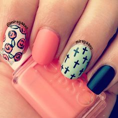 .@Monica Campa | Roses and crosses!✝✝✝ I used Essie-Tart Deco,  Zoya-Purity, Sally Hansen Xtre...