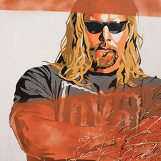 """Kevin Nash l Acrylic and spray on 24"""" x 24"""" wood"""