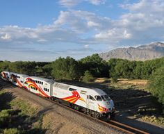Passengers aboard the Rail Runner Express are treated to incredible views of New Mexico's Sandia Mountains en route from Albuquerque to Santa Fe.