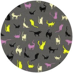 """Cotton and Steel, Spellbound, Moon Cat Grey  Fabric is sold by the 1/2 Yard. For example, if you would like to purchase 1 Yard, you would enter 2 in the Qty. box at Checkout. Yardage is cut in one continuous piece.  Examples:  1/2 yard = 1 1 yard = 2 1 1/2 yards = 3 2 yards = 4  1/2 Yard Measures 18"""" x 44/45""""   Fiber Content: 100% Cotton    Hover over image for a larger, better view."""