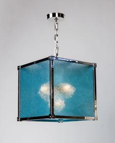 Marlowe 16 Lantern with Antique Pebbled Blue Glass (hl2892.16.pb) | Remains.com