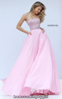 A Line Sherri Hill 32362 Pink Princess Prom Dress Hot Sale