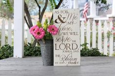 "As for me and my house we will serve the Lord, Hand painted wood sign, Wedding gift, Custom family name and date, Measures 10.5""  x 22"""