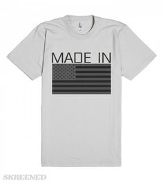Made In Usa | American Apparel Unisex Fitted Tee / Silver with dark Usa flag and metallic letters #Skreened