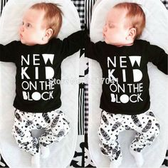 New 2016 autumn baby boy clothes fashion cotton long sleeved letter  t-shirt+pants aeb0e16f2