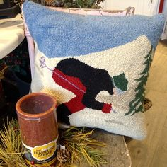 Bring home your love of #skiing with this unique winter pillow! The perfect addition to your winter decor! | www.georgianchristmas.ca