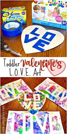 This Valentine's LOVE Art is super simple and the perfect project to create with your toddler to celebrate Valentine's day. Easy, inexpensive and fun! My Funny Valentine, Toddler Valentine Crafts, Toddler Arts And Crafts, Valentine's Day Crafts For Kids, Valentines Day Activities, Daycare Crafts, Valentines For Kids, Baby Crafts, Preschool Crafts