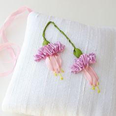 ribbon needlework | Fuchsias Lavender Sachet silk ribbon embroidery by bstudio on Etsy