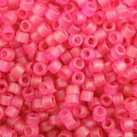 Miyuki 11/0 (1.6mm) Delica Dyed Semi-Frosted Transparent Dark Rose Pink glass cylinder beads, colour number DB 778. UK seller.