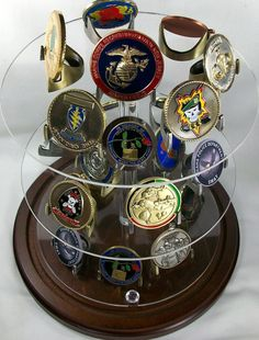 challenge coin display, military coin display, medallion display, law enforcement coin display, police coin display, award coin display Challenge Coin Display, Challenge Coins, Display Easel, Display Shelves, Display Ideas, Military Gifts, Military Retirement, Retirement Ideas, Military Wedding