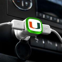 U Miami Hurricanes USB Car Charger