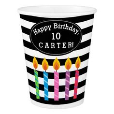 Personalized Birthday Candles Paper Cups - kids birthday gift idea anniversary jubilee presents
