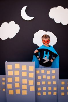 Love this photo backdrop.  Got to figure out a way to pull this off. Domestic Charm: Hudson's Superhero Party