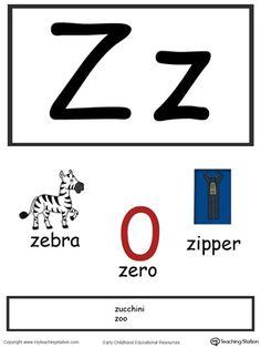 Letter V Alphabet Flash Cards for Preschoolers