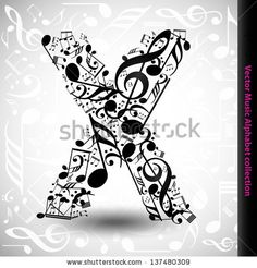 Abstract vector alphabet - X made from music notes - alphabet set