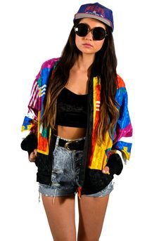 Vintage 80s Multicolor Floral Bomber Jacket by saltwatergypsy ...