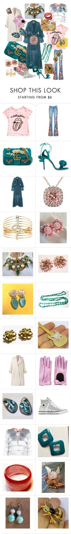 """""""Downtown Girl"""" by mysoulrepair ❤ liked on Polyvore featuring Alice + Olivia, Gucci, Aquazzura, Allurez, Charlotte Russe, Avon, Olympia Le-Tan, Converse and vintage"""