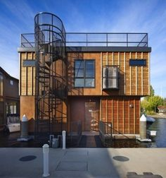 modern exterior by Dan Nelson A.I.A.   Designs Northwest Architects/ Front Exterior/Seattle Floating home...