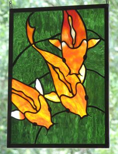 Stained Glass Koi Panel Window Art Fish by trilobiteglassworks