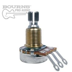 """Bourns Mini Guitar Potentiometer, 500K Audio, Knurled Split Shaft by Bourns. $2.50. Bourns Mini Guitar pots. These are drop in replacement components.Features:Carbon element1/4"""" Knurled Split Shaft3/8"""" Bushing Width, 3/8"""" Bushing LengthTolerance: ±20 %Power Rating: 0.1 wattMaximum Operating Voltage: 150 VBourns Series Number: PDB181-GTR. Save 40%!"""
