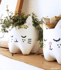 Kitty Planters Made From Recycled Bottles   Top 10 Pinterest Pins