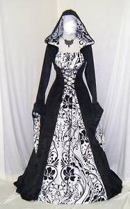 pagan+wedding+gown | Medieval Gothic Renaissance Wedding Dress Pagan Hooded | eBay