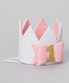 Love this Molly Jane Designs Pink Bow Birthday Personalized Crown by Molly Jane Designs on #zulily! #zulilyfinds