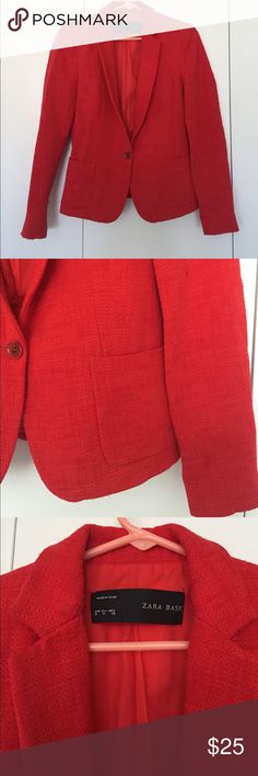 "Zara red tweed blazer Bright red Zara ""tweed"" blazer perfect for work and spring! Size M. Can fit small or medium depending on the fit. Has some snags as pictured. Otherwise great condition Zara Jackets & Coats Blazers"
