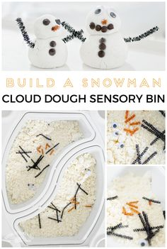 Build a Snowman Cloud Dough Sensory Bin | Raising Little Wild Ones | www.raisinglittlewildones.com | No snow in your neck of the woods? No big deal, you can create your own snowy wonderland experience indoor with this Snow Dough Recipe. Let your kids practice building a miniature snowman inside so they're ready to for the real thing when the snow does hit. (Plus you won't have to get them all bundled up in warm clothes for this one). #sensoryplay #sensorybin #wintersensorybin