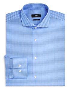 Boss Mark Medium Grid Woven Check Sharp Fit Dress Shirt