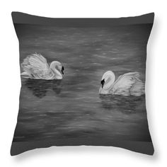 Swans Throw Pillow featuring the drawing Swan Couple by Faye Anastasopoulou