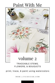 Paint With Me - Traceable Watercolor eBook VOLUME 2 — Nicki Traikos | life i design | Learn Watercolor Painting, Watercolor Beginner, Watercolour Tutorials, Watercolor Print, Watercolor Flowers, Watercolor Paper, Painting Techniques, Some Fun, House Plants