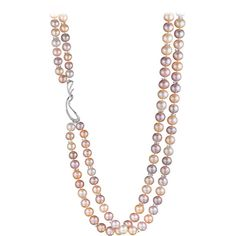 Pre-owned Naomi Sarna Double Strand Freshwater Pearl Diamond Gold... ($72,000) ❤ liked on Polyvore featuring jewelry, necklaces, multi-strand necklaces, gold jewelry, 18k gold necklace, cultured pearl necklace, jewel necklace and cross necklace