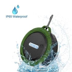 OnlinDo, Mini 5W Power (IPX5 Water Resistant) Waterproof Bluetooth Wireless Speaker w/ Suction Cup and Mic for IOS/Android PC Fit for Bathroom/Home/Office/In-Car/Camping/Driving/Bicycling(Green) -- Check out the image by visiting the link. (This is an affiliate link and I receive a commission for the sales)