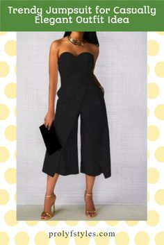 Keep classy and fashion-forward with this chic style jumpsuit for women smart casual look. This classy sleeveless jumpsuit is the perfect formal outfits for women special occasions fashion. Add this stylish jumpsuit for women to your women's formal style wardrobe. Wear this elegant off shoulder jumpsuit for a formal date night outfit for women. women's fashion chic style. mom look fashion casual, classy looks for women chic, chic look classy #fashion #stylishoutfit #womenstyle #ootdwomen Rompers Dressy, Jumpsuit Dressy, Women's Rompers, Elegant Jumpsuit, Black Jumpsuit, Formal Outfits, Casual Dress Outfits, Night Outfits, Stylish Outfits