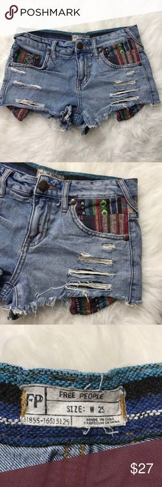 Free People Embroidered Denim Jean Shorts W25 Excellent condition - Free people Brand - W 26 - FAST SHIPPING! Free People Shorts Jean Shorts
