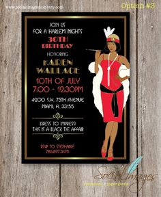 Harlem Nights Birthday Party Invitation // Printed Harlem Nights Birthday Party Invitation // by SocialImagesInc Roaring 20s Party, Gatsby Party, Gatsby Theme, Speakeasy Party, Flapper Party, 1920s Party, Gatsby Style, Roaring Twenties, 40th Birthday Parties