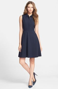 Vince Camuto Pinstripe Point Collar Fit & Flare Dress (Regular & Petite) available at #Nordstrom