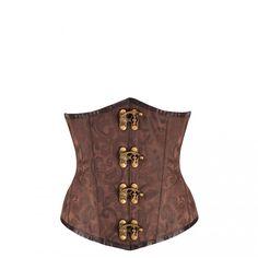 Black steampunk underbust corset (CD-3634). #corset #steampunk #underbust #black #brown #brocade #fashion #corsetstory #corsetsuk