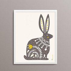 Hare Illustration, Cat Illustrations, Linocut Prints, Art Prints, Bunny Painting, Painting Tips, Scandinavian Folk Art, Scandi Art, Folk Art Flowers